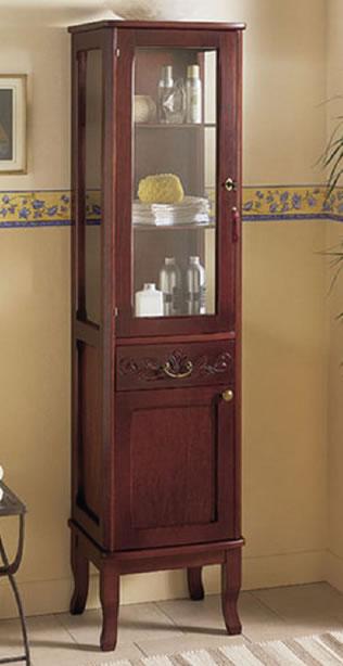 colonna bagno classica in legno con anta in vetro h11304