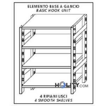 Scaffale in acciaio inox 4 ripiani lisci 130x40xh180 cm h11124 dimensioni