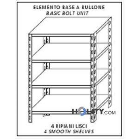 Scaffale modulare in acciaio inox 130x40xh180 cm h11136 dimensioni