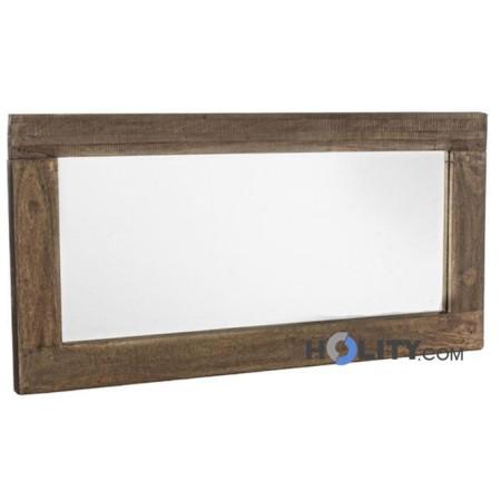 Specchio con cornice in legno massiccio h13704