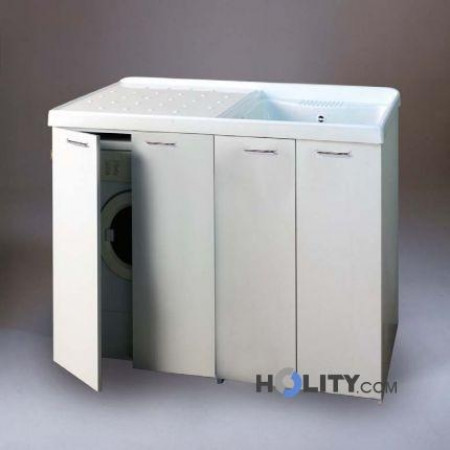 Cerchi lavatoio con vasca in metalcrilato per lavatrice - Mobile coprilavatrice con lavatoio ...
