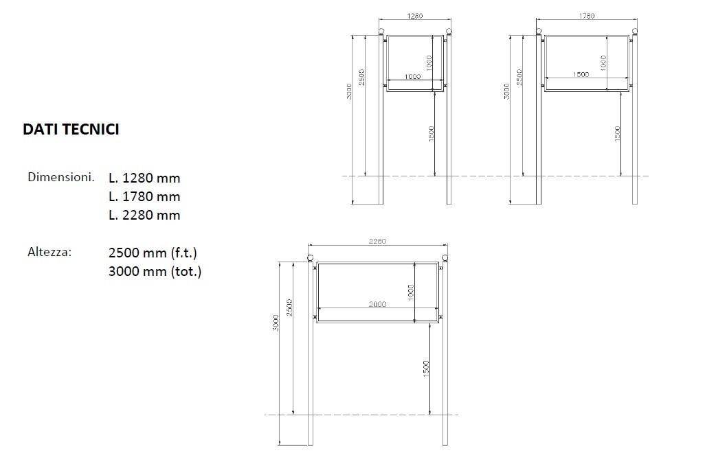 Bacheca arredo urbano con pannello in alluminio h109122 for Produzione arredo urbano