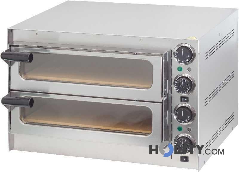 Forno pizza 2 camere con fondo in pietra refrattaria h11039 - Forno elettrico con pietra refrattaria ...