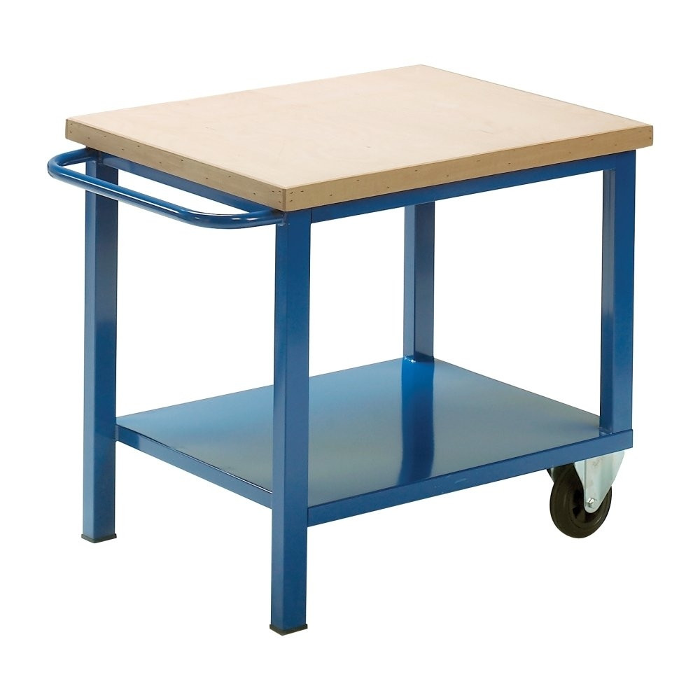 Carrello da lavoro con piano in legno h28604 - Tavolo da lavoro con ruote ...