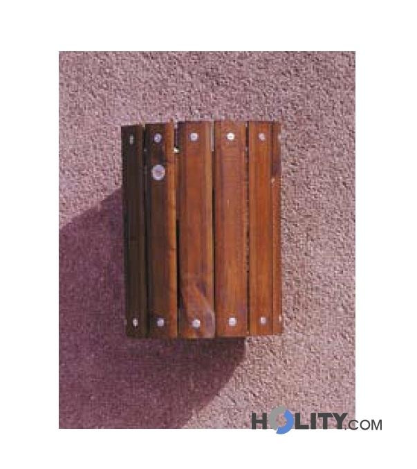 Cestino per rifiuti in legno a muro h28507