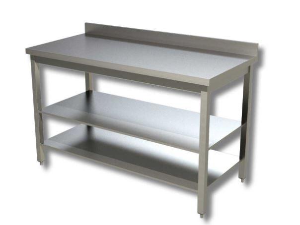 Cerchi tavolo in acciaio inox con 2 ripiani e alzatina h35709 - Alzatina cucina acciaio ...