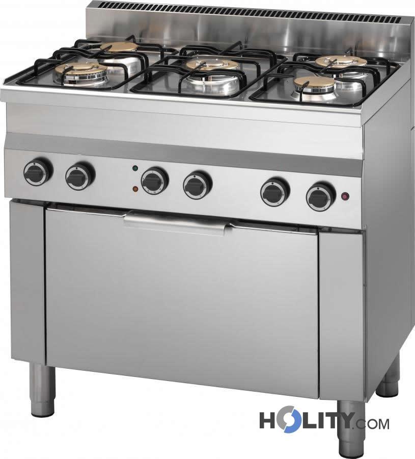 cucina professionale 5 fuochi con forno elettrico h35953