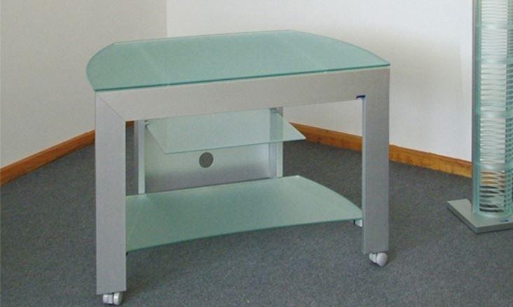 Carrello Porta Tv Vetro Con Ruote.Carrello Portatv Con Ruote In Cristallo E Alluminio H12517