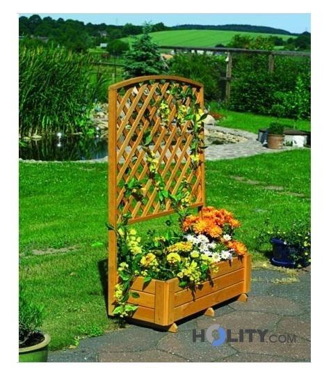 Cerchi fioriera in legno di pino con grigliato h24808 for Fioriera con grigliato