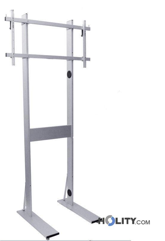 Porta Tv Piantana.Maxi Piantana Porta Tv In Alluminio Regolabile Con Ruote H12522