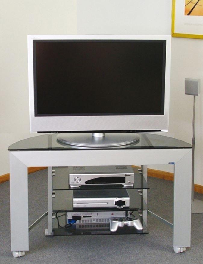 Porta Tv Cristallo Design.Cerchi Mobile Portatv In Alluminio E Cristallo Temprato Con Ruote