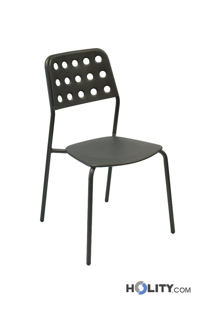 sedia design da giardino impilabile in acciaio h19215