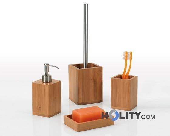 Set accessori bagno in bambù h107127