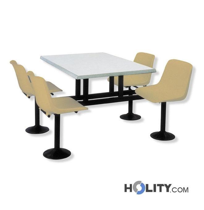Tavolo mensa con sedie incorporate h15131 for Arredi per mense