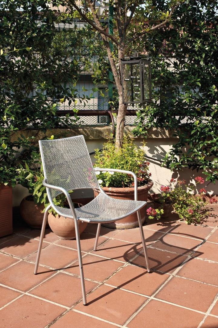 Sedia da giardino con braccioli, impilabile, in acciaio verniciato h19206