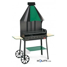 Barbecue a carbonella con cappa integrata h17017