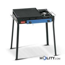 Barbecue a gas con piastra in ghisa e fornello tradizionale h17026