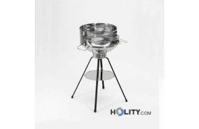 Barbecue a carbonella circolare in acciaio inox h17006