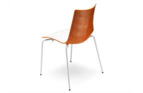 Sedia bicolore in polimero con telaio bianco h74114 bianco + arancio