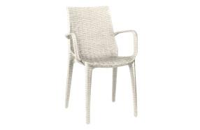 Sedia intrecciata in polipropilene rinforzato con braccioli h74123 lino