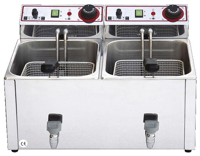 Friggitrice doppia professionale 8+8 lt in acciaio inox con rubinetto h18908