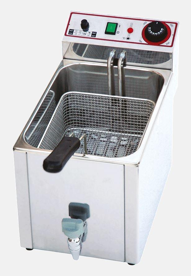Friggitrice elettrica 10 lt in acciaio inox con rubinetto h18909