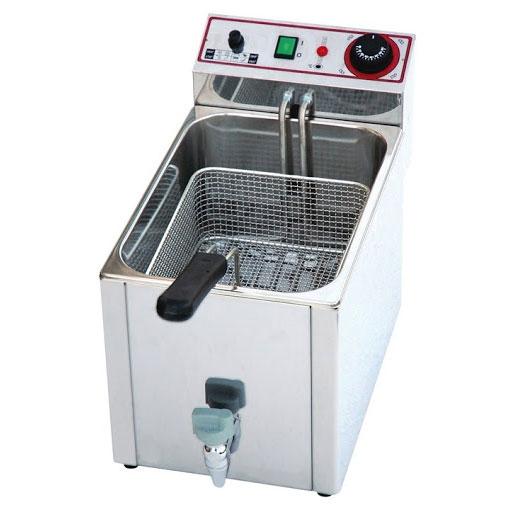 Friggitrice elettrica 8 lt in acciaio inox con rubinetto h18907