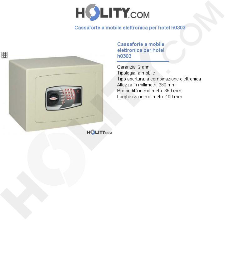 Cassaforte a mobile elettronica per hotel h0303