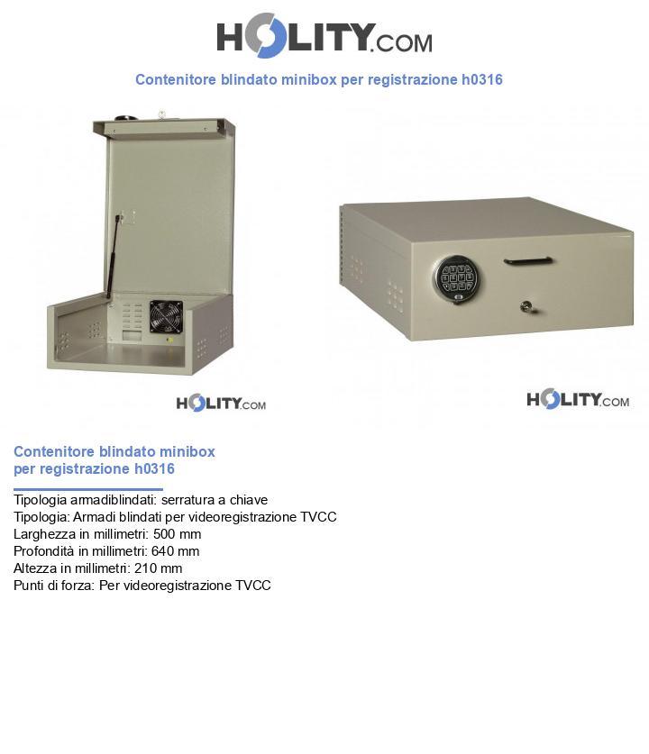 Contenitore blindato minibox per registrazione h0316