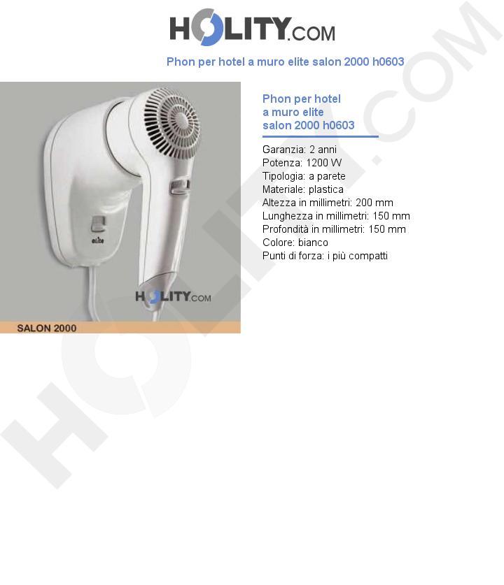 Phon per hotel a muro elite salon 2000 h0603