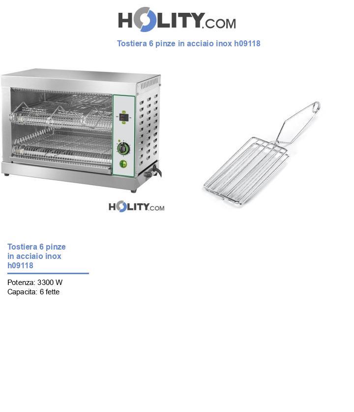 Tostiera 6 pinze in acciaio inox h09118