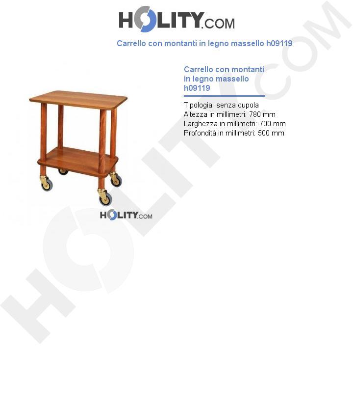 Carrello con montanti in legno massello h09119