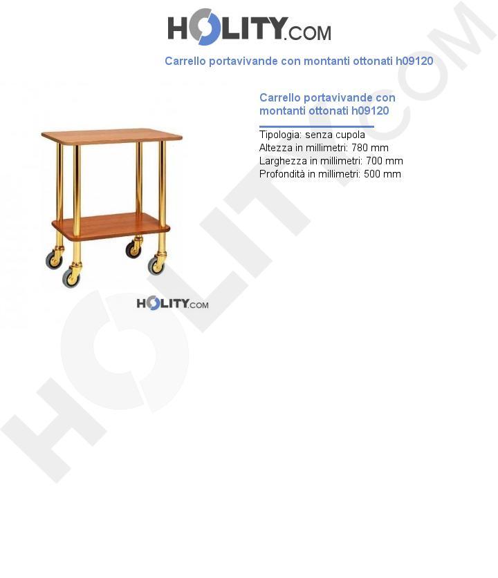 Carrello portavivande con montanti ottonati h09120