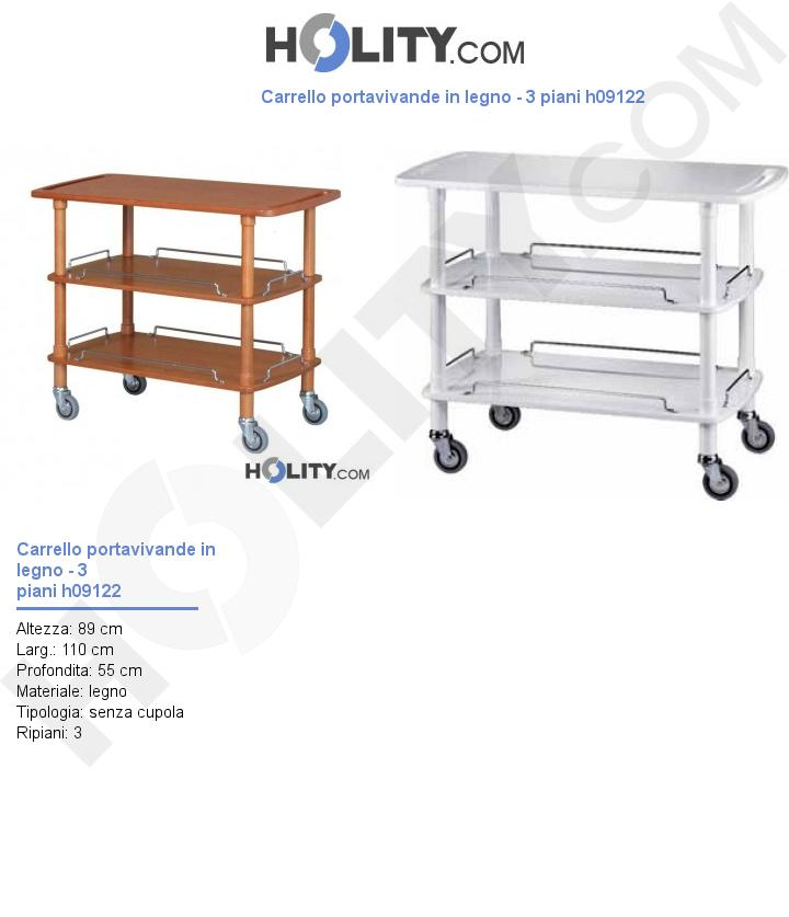 Carrello portavivande in legno 3 piani h09122 for Costruisci piani senza cupola