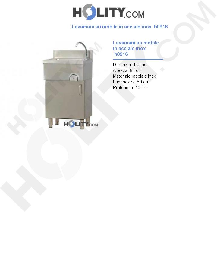 Lavamani su mobile in acciaio inox  h0916