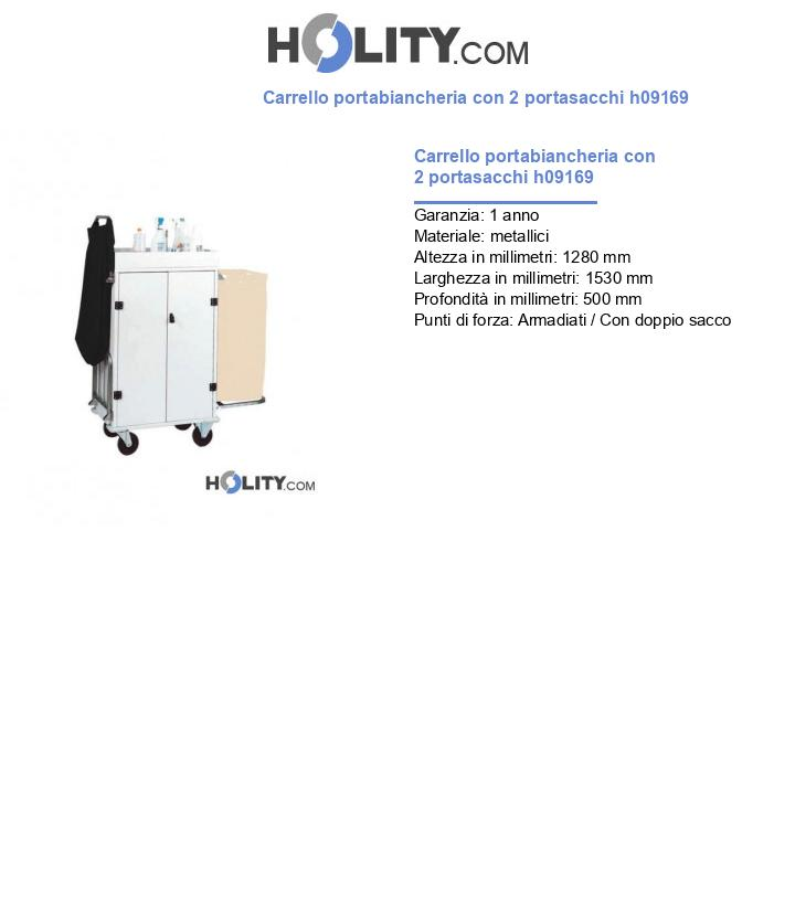 Carrello portabiancheria con 2 portasacchi h09169