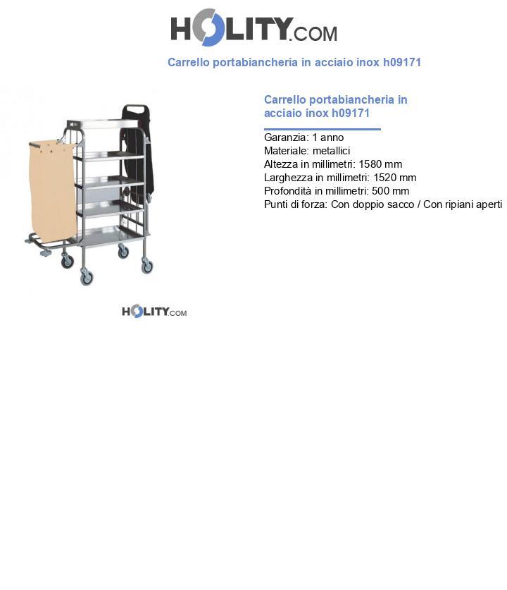 Carrello portabiancheria in acciaio inox h09171