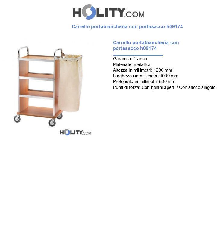 Carrello portabiancheria con portasacco h09174