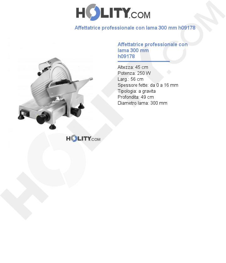 Affettatrice professionale con lama 300 mm h09178