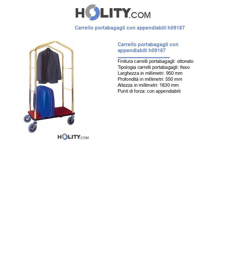 Carrello portabagagli con appendiabiti h09187