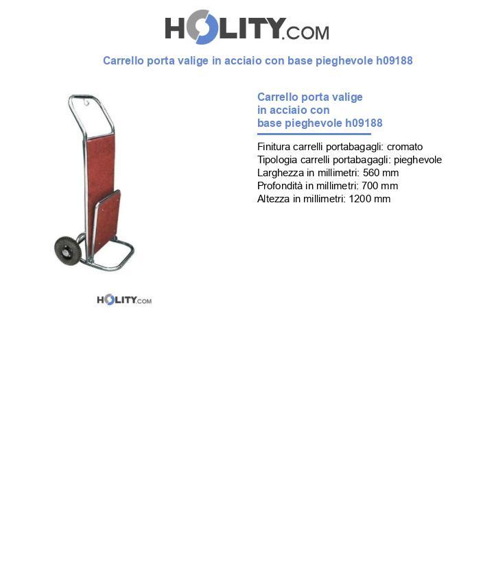 Carrello porta valige in acciaio con base pieghevole h09188