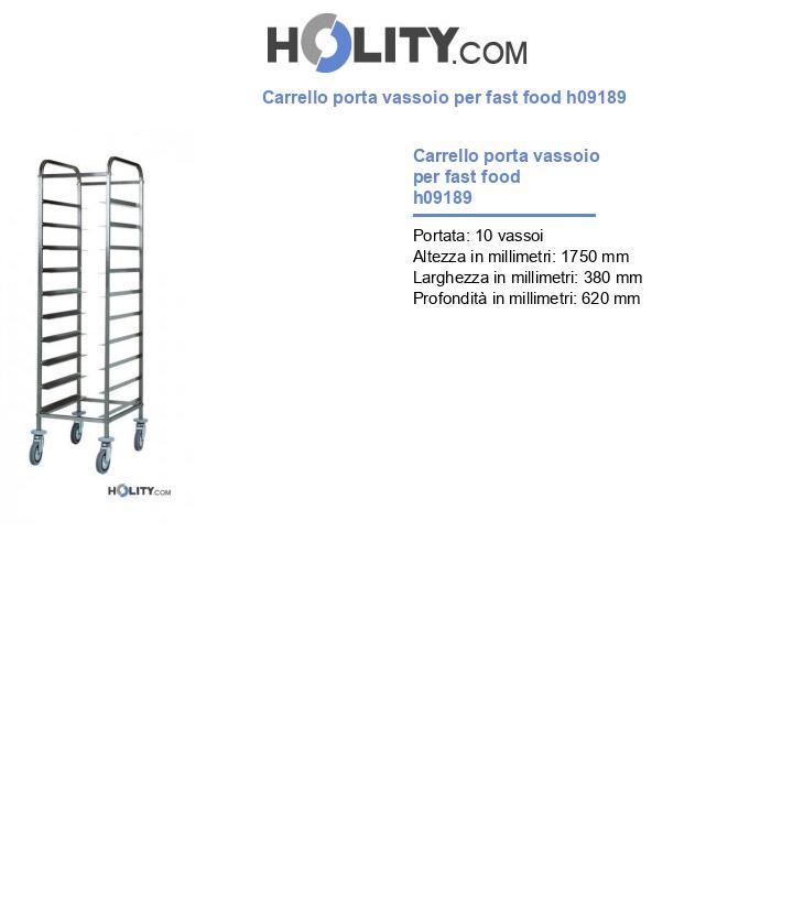 Carrello porta vassoio per fast food h09189