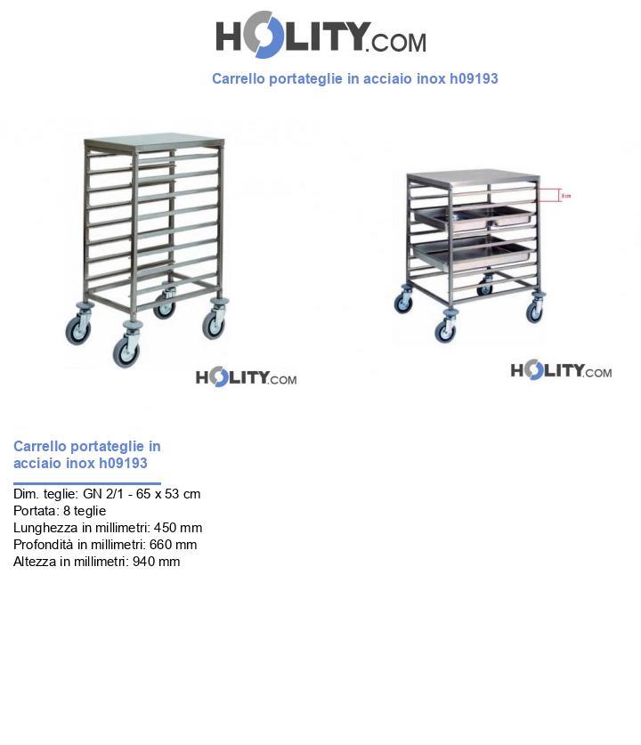 Carrello portateglie in acciaio inox h09193