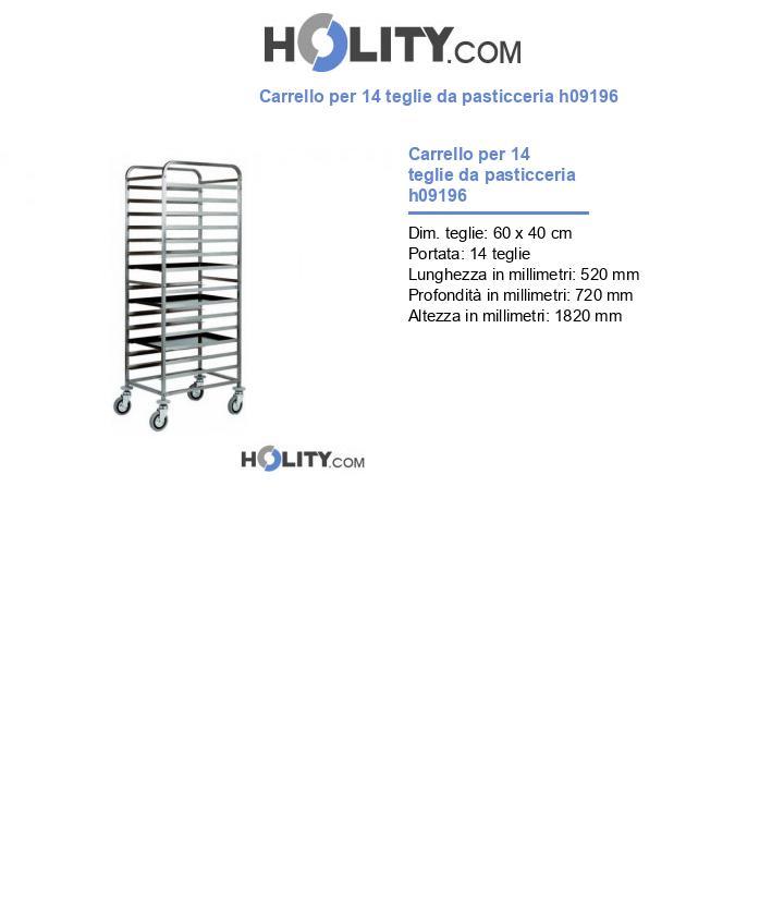 Carrello per 14 teglie da pasticceria h09196