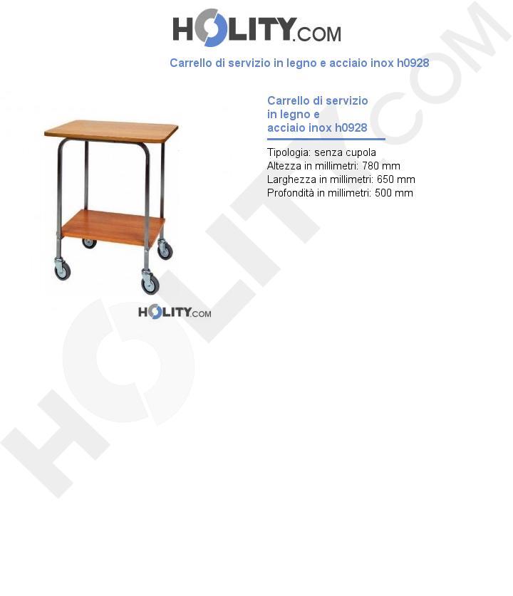 Carrello di servizio in legno e acciaio inox h0928
