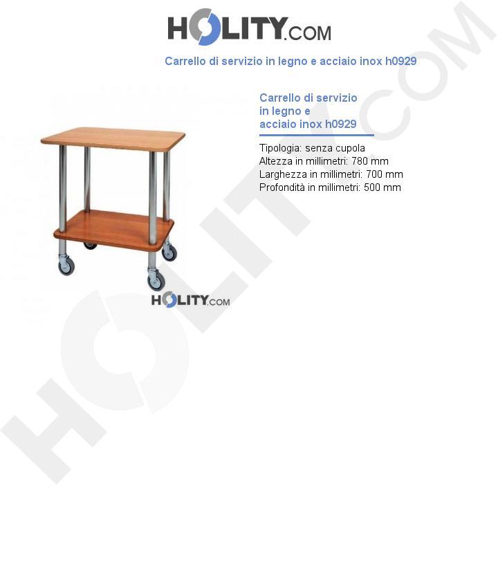 Carrello di servizio in legno e acciaio inox h0929