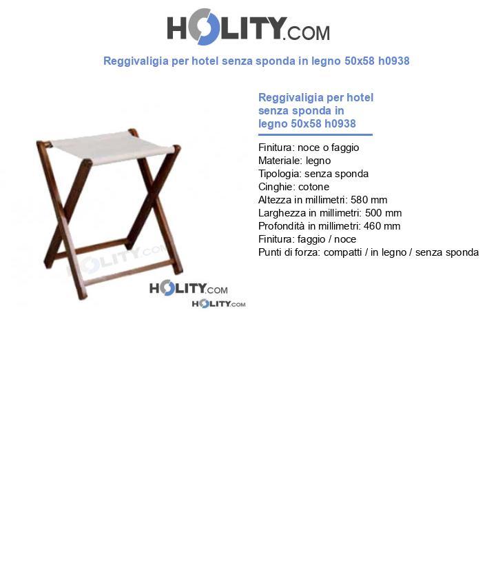 Reggivaligia per hotel senza sponda in legno 50x58 h0938