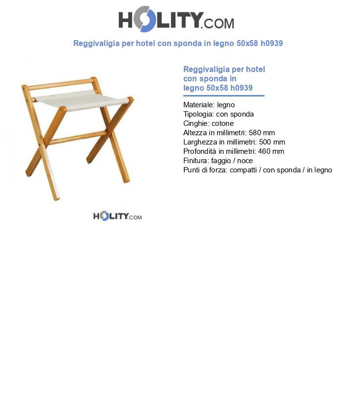 Reggivaligia per hotel con sponda in legno 50x58 h0939