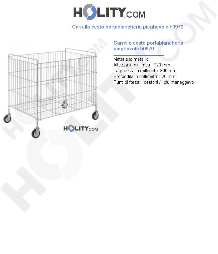 Carrello cesto portabiancheria pieghevole h0970