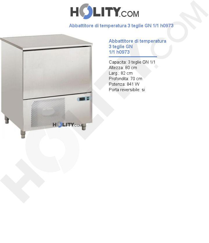 Abbattitore di temperatura 3 teglie GN 1/1 h0973